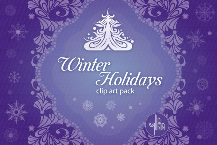 Winter Holidays, Christmas, New Year - vector clip art pack