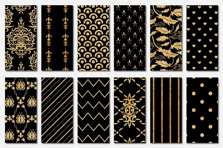 Black and Gold Seamless Papers - Damask & Geometric Patterns example 2
