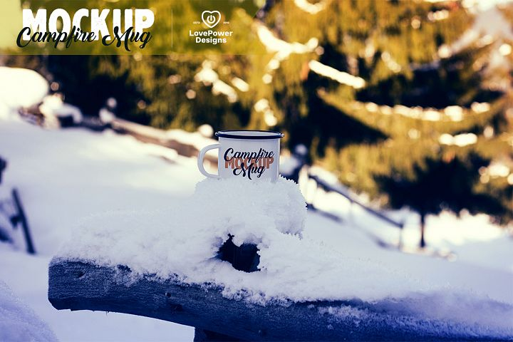 Enamel Mug Mockup / Tin Mug on Wood Mockup / Campfire Mug