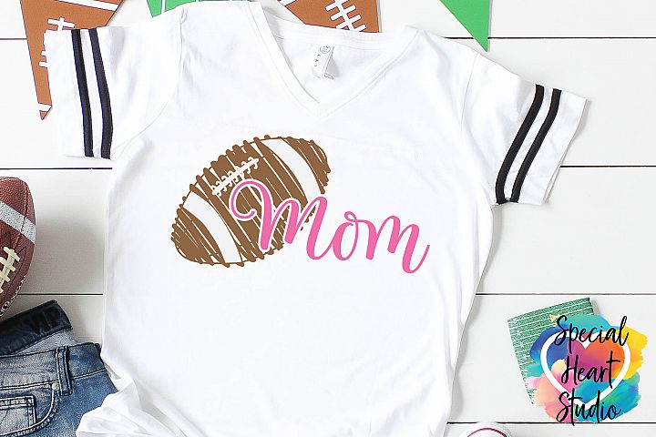Football Mom - A Hand Drawn Scribble Football SVG Cut File