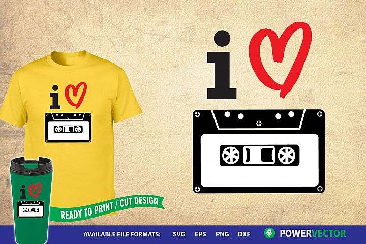 I Heart Cassette Tape | Vintage Music SVG Print, Cut Files