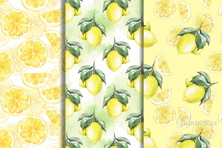 Patterns with lemons. Watercolor