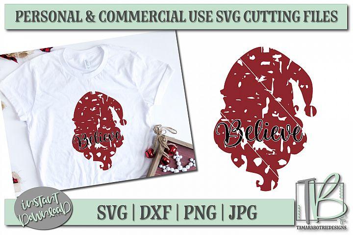 Grunge SVG Cut File, Santa SVG, Believe, Christmas Cut file