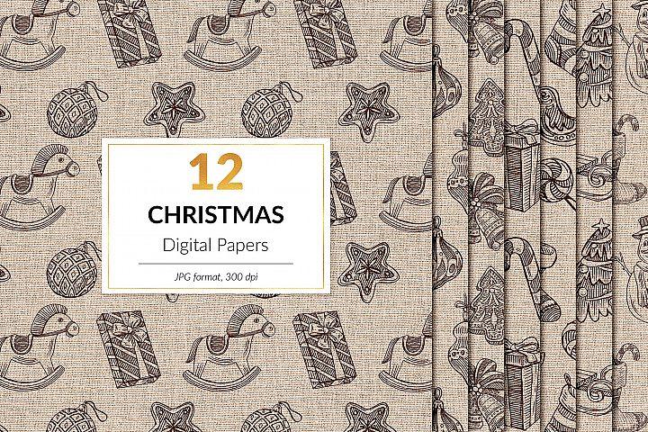 Vintage Christmas Digital Paper, Vintage Winter Patterns
