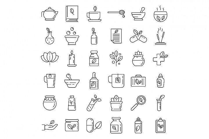 Phytotherapy icons set, outline style