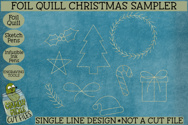Foil Quill Christmas Sampler / Single Line Sketch SVG