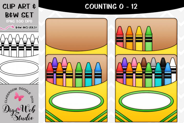 Clip Art / Illustrations - 0-12 Counting Crayons