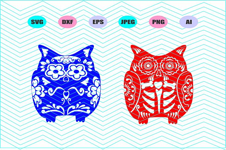 Owl Svg, Sugar Skull Owl Svg Vector File Cricut Design Vinyl