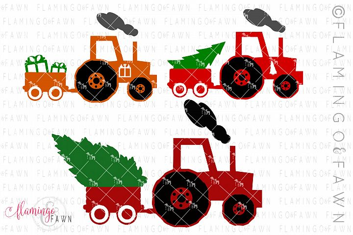 Christmas tractor bundle svg dxf eps png