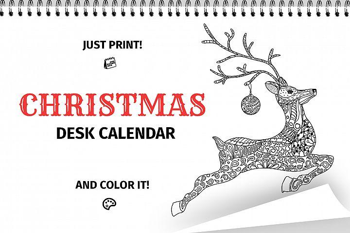 Christmas Coloring Desk Calendar Printable Pages