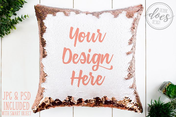 Rose Gold Sequin Pillow Mockup with Smart Object