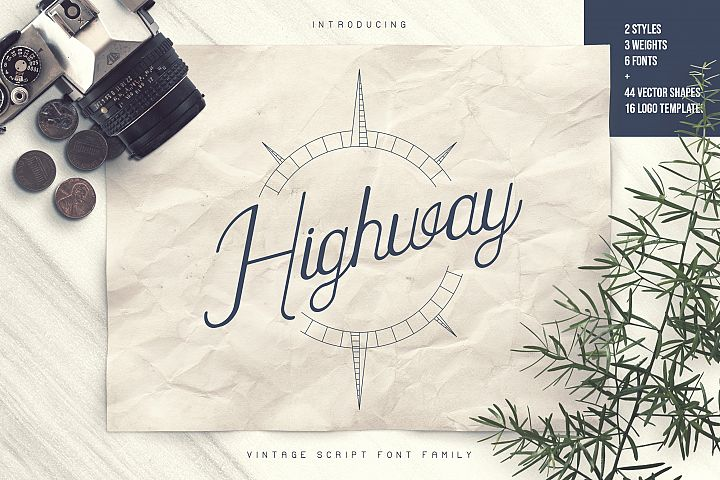 Highway - Vintage script font family with Extras