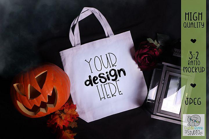 Halloween Mockup Pumpkin & Lantern|Canvas Tote Bag Mockup