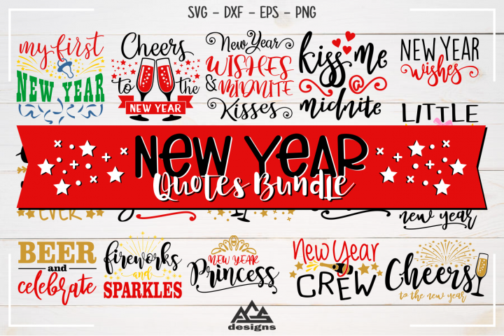 New Year Quotes Bundle Svg Design
