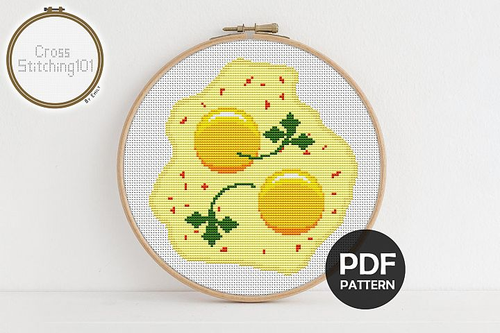 Omelette Cross Stitch Pattern - Instant Download PDF