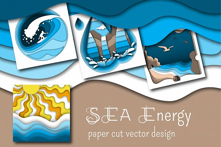 Sea Energy. Paper cut vector design.