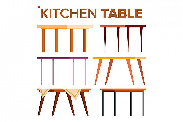 Kitchen Table Set Vector. Interior Design Element. Classic