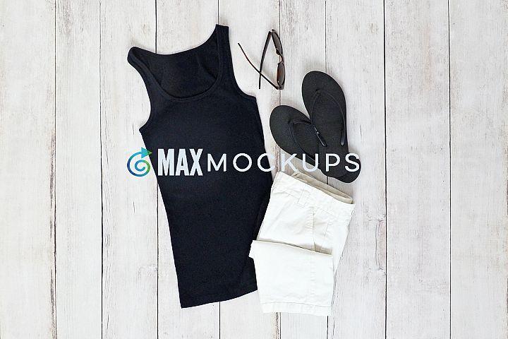 Black Tank Top Mockup, styled stock photo, summer flatlay