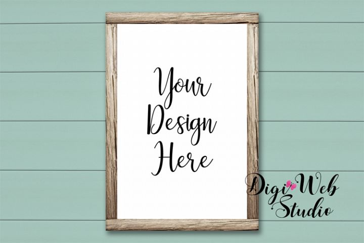 Wood Sign Mockup - Shabby Chic Wood Frame on Shiplap