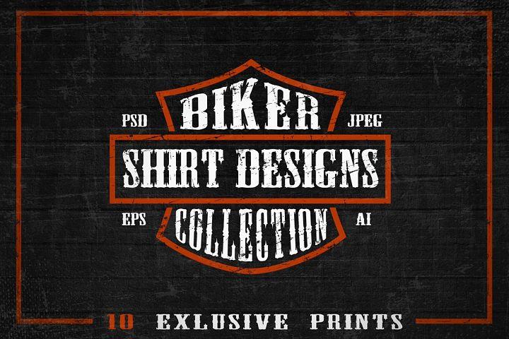 Set of Bikers Shirt Designs.