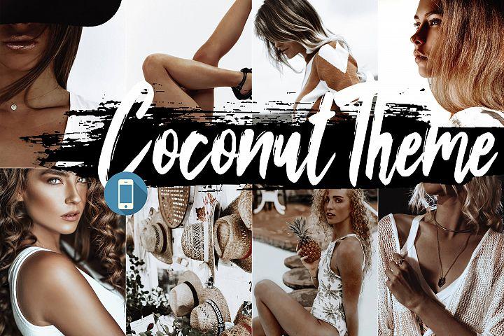 5 Coconut Mobile Lightroom Presets, cocoa filter white theme