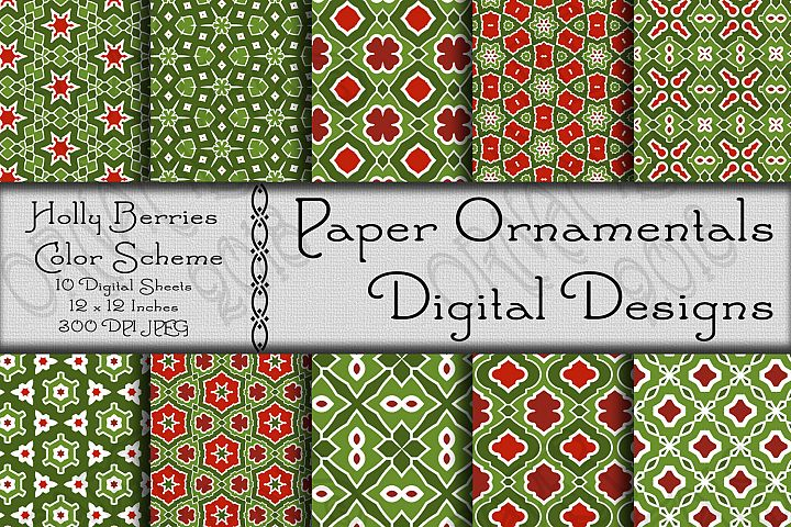 Holly Berries Christmas Digital Paper For Crafts & Projects
