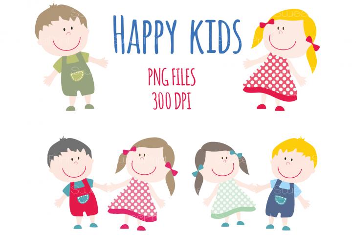Happy Smile Kids Clipart / Children Clip Art / Boy and Girl / Summer Kids / Children Clipart