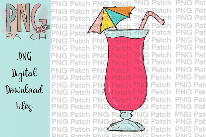Pink Daiquiri, Summer PNG File, Vacation Sublimation Design