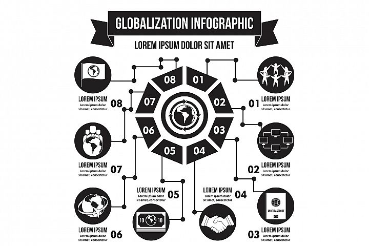 Globalization infographic concept, simple style