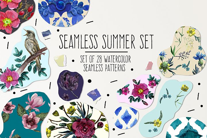 Seamless Summer Watercolor Patterns Set