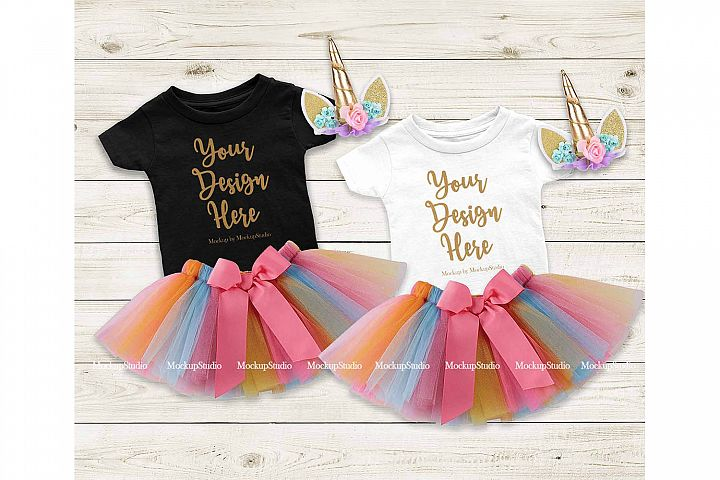 Baby Girl Black White Shirt Mockup, Infant Tee Party Set