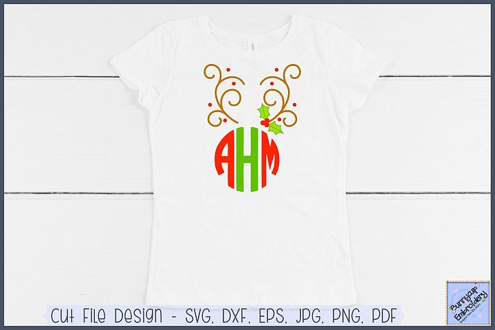 Reindeer Antlers Monogram Topper - SVG and Clipart