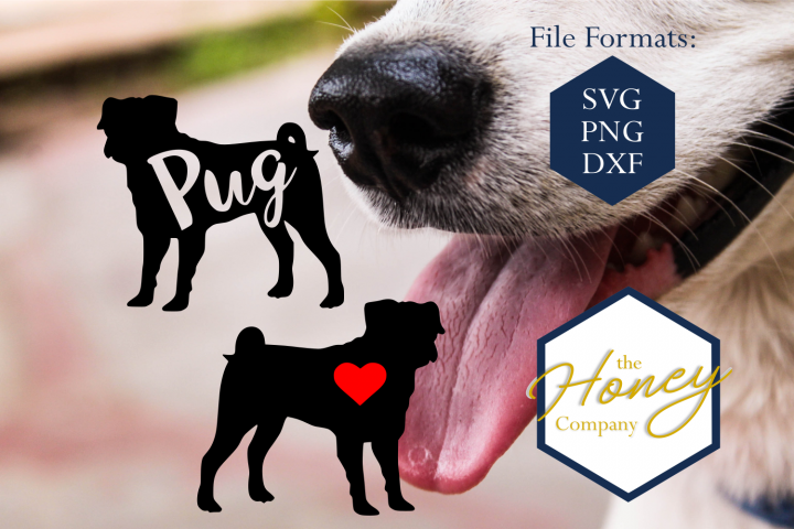Pug SVG PNG DXF Dog Breed Lover Cut File Clipart Decal
