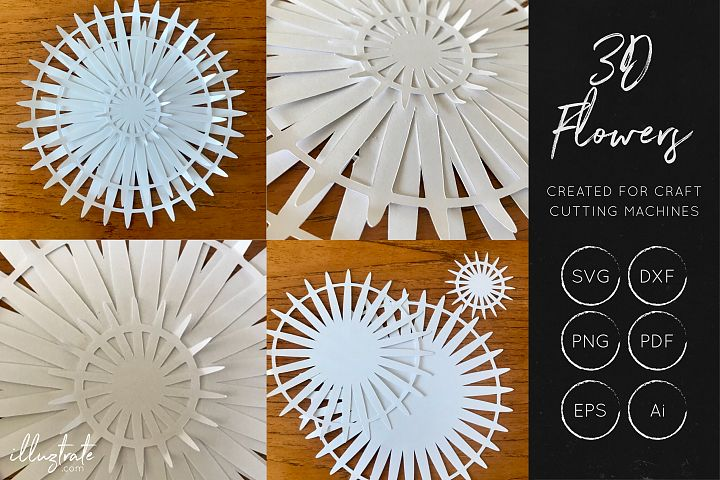 3D Flower SVG Cut Files - Flower SVG - Layered Flower DXF - Free Design of The Week Design 2