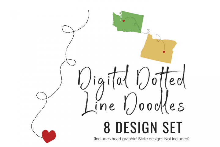 Dotted Line Doodles 8 design set heart