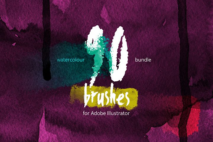 90 Watercolor Brushes BUNDLE for Illustrator