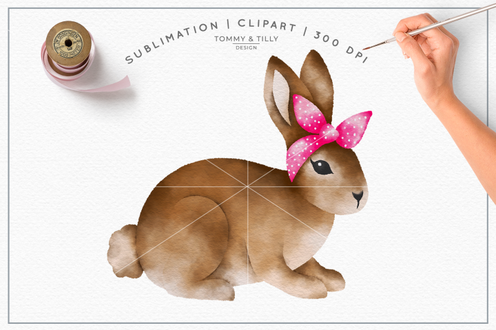 Bunny Pink Bandana No.1 - Sublimation PNG Clipart