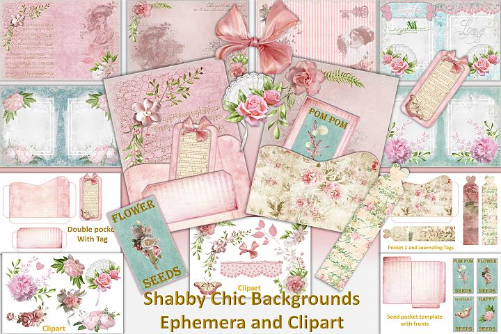 Shabby Chic Vintage backgrounds, Ephemera and Clipart Pmgs