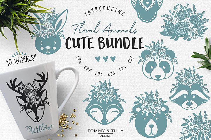 Floral Animals Bundle - SVG DXF PNG EPS JPG PDF Cut File