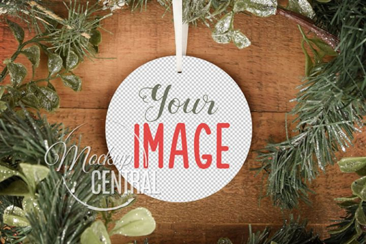 Blank Circle Round Christmas Ornament Mockup PNG Template