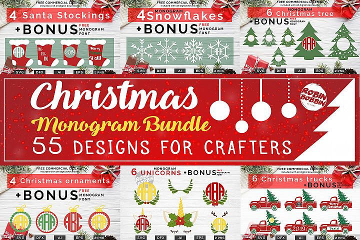 Christmas Monogram Bundle - 55 Designs For Crafters