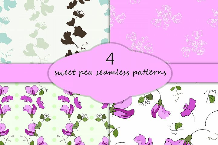 Sweet pea seamless patterns, set of 4