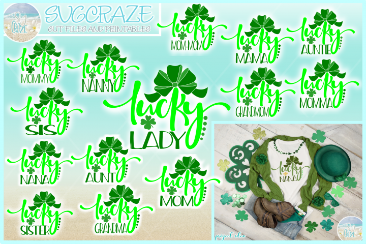 Lucky Woman St Patricks Day Quote Bundle Svg Dxf Eps Png Pdf