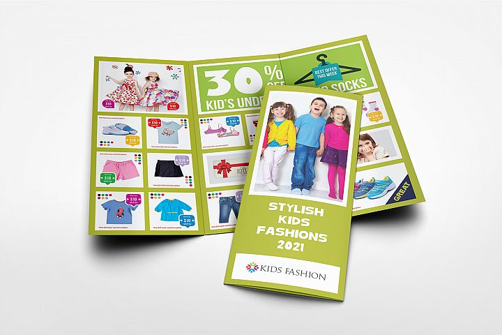 Kids Fashion Products Catalog Tri-Fold Brochure Tempalte