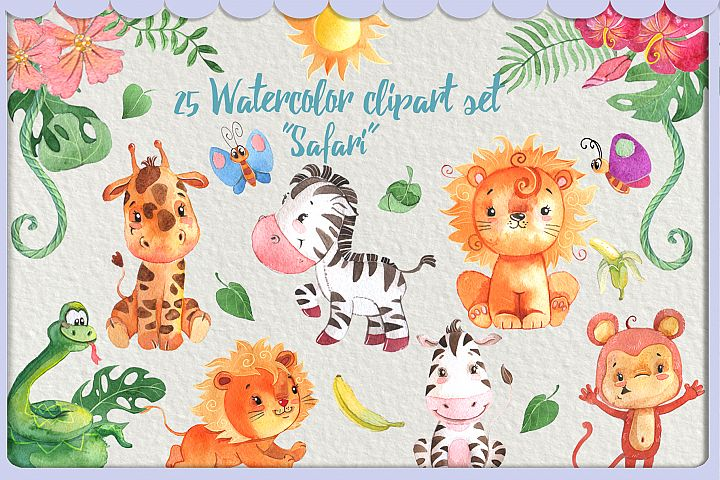 Watercolor Safari Animals clipart pack or kids