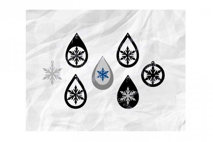 Snowflake Earrings Svg, Teardrop Earring Svg, Winter Earring