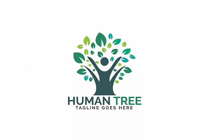 Human tree logo design. Healthy people tree logo.