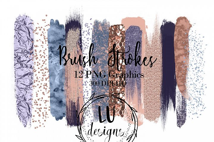 Rose Gold And Blue Brush Strokes, Glitter Overlay Strokes