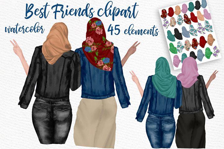 Muslim women clipart, Muslim Girls, Hijab clipart, Besties
