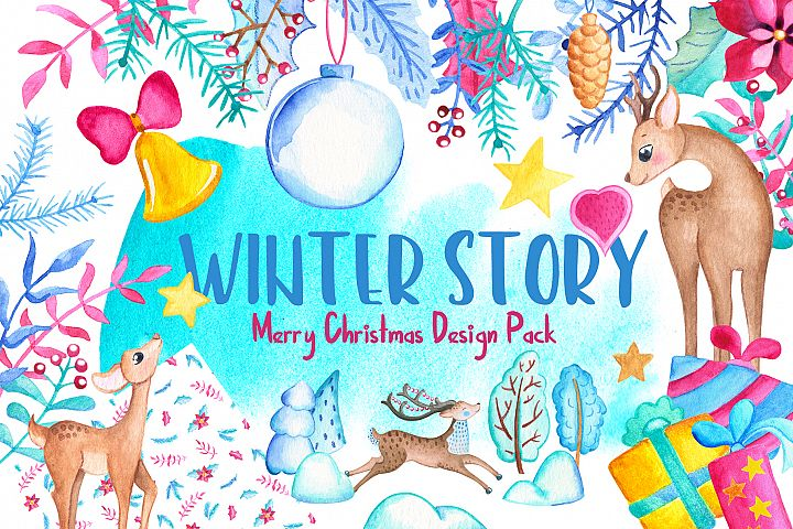 Watercolor Christmas Clipart And Seamless Patterns